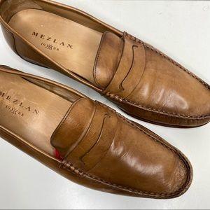 MEZLAN Men's Brown Leather Penny Loafer